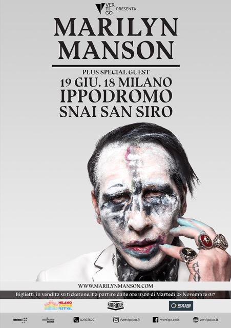 Marilyn Manson al Milano Summer Festival il 19 giugno